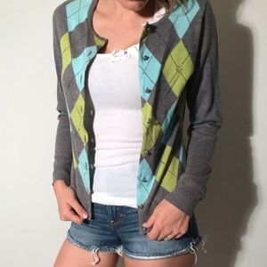 Argyle Sweater with Detailed Buttons